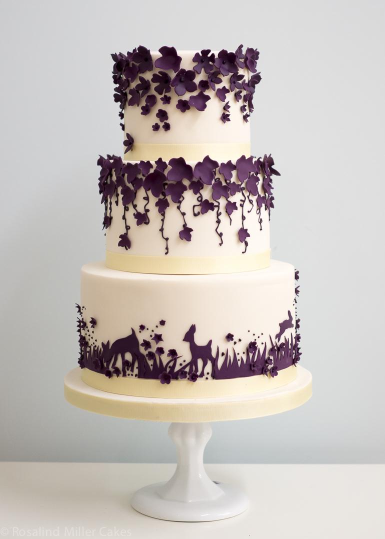 Beautiful White And Purple Wedding Cakes