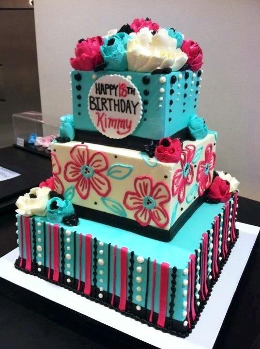 Teal Blue Pink Cake