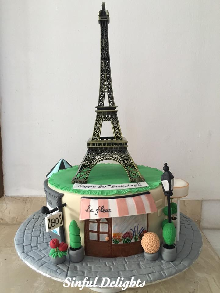 Paris Theme Cake by Sinful Delights
