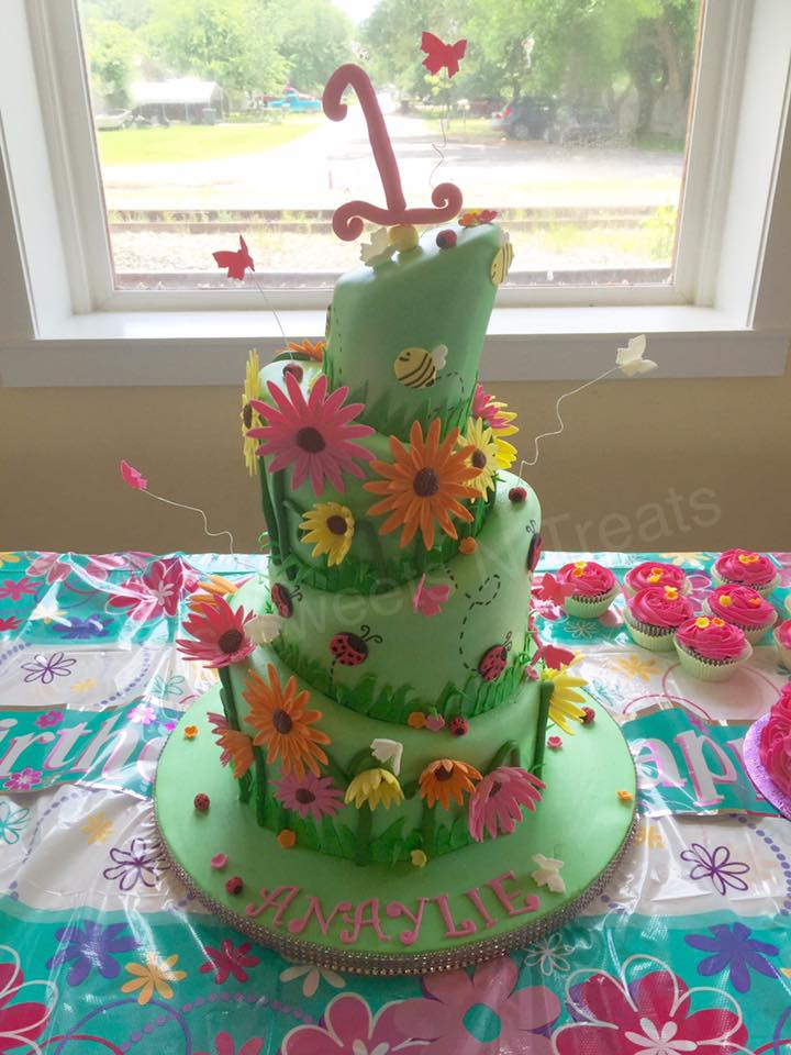 Remarkable Garden First Birthday Cake By Kcs Sweets N Treats Amazing Cake Ideas Funny Birthday Cards Online Overcheapnameinfo