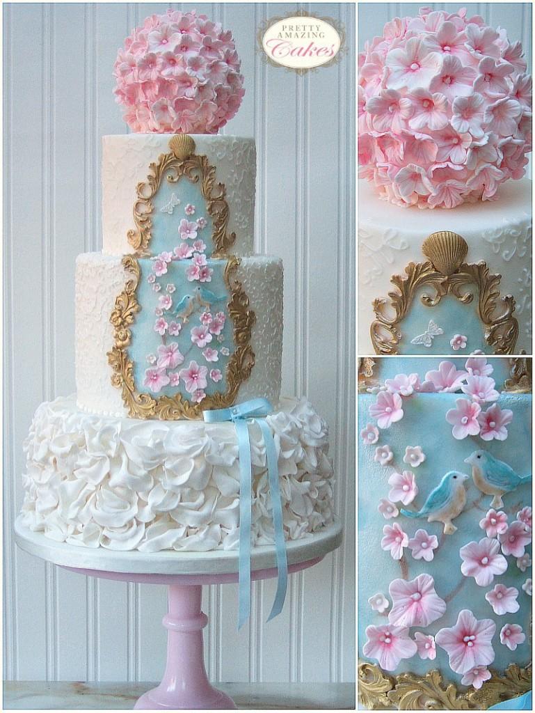 Gold Frame Vintage Wedding Cake Bristol Designed by Pretty Amazing Cakes