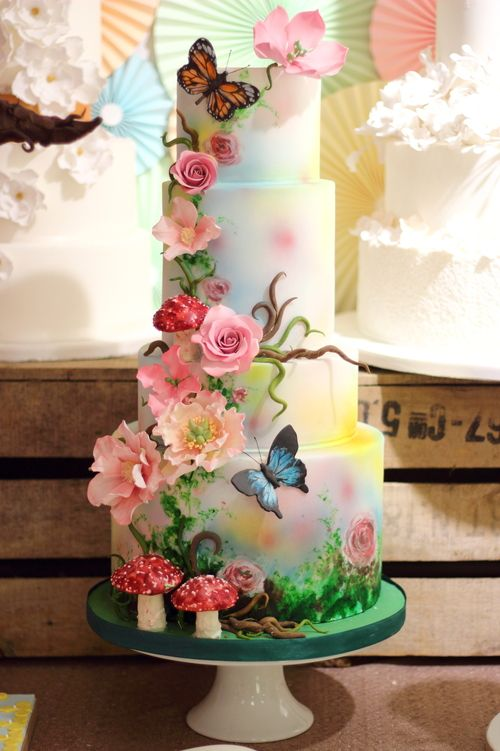 Woodland Magical Themed Wedding Cake with Painted Butterflies and ...
